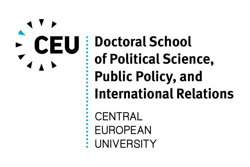 logo of the DSPS with the words CEU, Doctoral School of Political Science, Public Policy and International Relations, Central European University