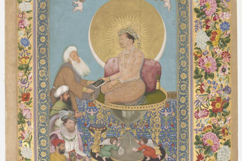 Bichitr: Jahangir Preferring a Sufi Shaikh to Kings (1618); Courtesy by Freer Gallery of Art, Smithsonian Institution