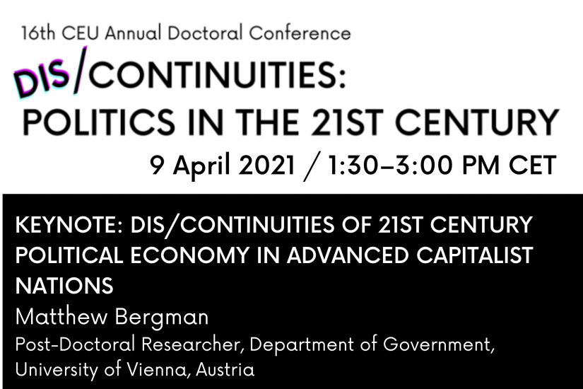 Dis/Continuities of 21st Century Political Economy in Advanced Capitalist Nations 9 april 1:30 pm